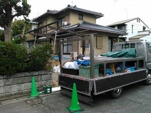 飯塚市 車庫増設工事中