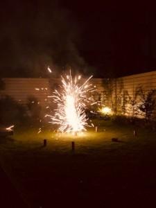 芝生で花火